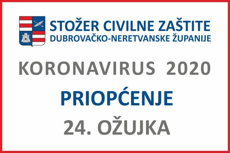 Priopćenje Stožera civilne zaštite DNŽ, 24. ožujka 2020. godine