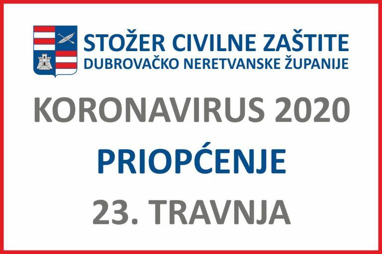 Priopćenje Stožera civilne zaštite Dubrovačko-neretvanske županije, 23, travnja 2020.