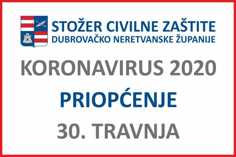 U Dubrovačko-neretvanskoj županiji u posljednja 24 sata nema novih slučajeva zaraze koronavirusom