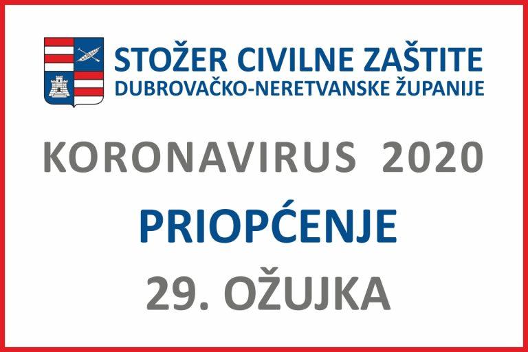 Priopćenje Stožera civilne zaštite DNŽ, 29. ožujka 2020. godine